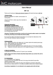 Imc MIT 30 motorcycle intercom system 3067 User Manual