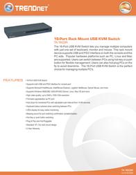 Trendnet 16-Port USB/PS/2 Rack Mount KVM Switch TK-1603R Leaflet