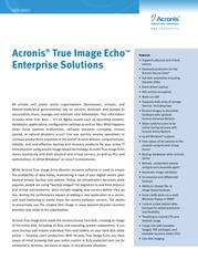 Acronis True Image Echo Server f/ Linux TILKB1DE21 Data Sheet