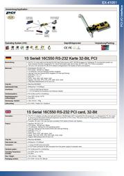 EXSYS EX-41051 1S Serial 16C550 RS-232 PCI card, 32-Bit 15.06.2093 Leaflet