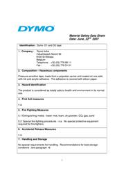 DYMO 19mm RHINO Coloured Vinyl S0718620 Data Sheet