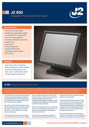 J2 Retail Systems J2 650 650RT-011001 Leaflet