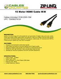 Cables Unlimited Pro A/V Series HDMI 1.3b Home Theatre Cables PCM-2295-10M Leaflet