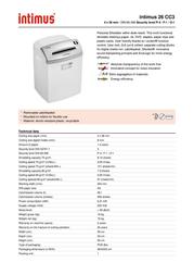 Intimus 26 CC3 26CC3 Leaflet