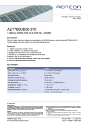 Aeneon DDR2 533Mhz 1024Mb AET760UD00-370A Data Sheet