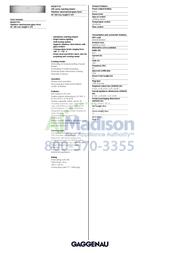 Gaggenau WS461710 Specification Sheet
