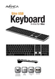 Avanca Qwerty Slim USB keyboard for MAC Silver Black AVKB-N06 Leaflet