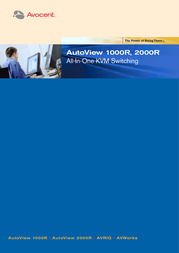 Avocent AutoView 1000R KVM Switch - 1 local user 1 digital user 16 ports includes AVWorks software A1000R-EU User Manual