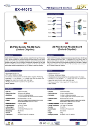 EXSYS PCI-Express 2S Serial RS-232 card EX-44072 Leaflet