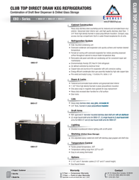Everest Club Top Direct Draw Commercial Keg Refrigerator Product Datasheet