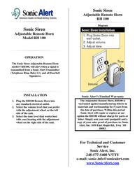 Sonic Alert Home Security System RH 100 Leaflet