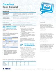 Kerio Connect 7, Standard GOV, 20 user add-on, AV Upgrade K90-062222 Data Sheet