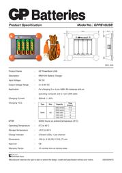 GP Batteries GP PowerBank USB Model No.: GPPB10USB 130010USB180C4 Leaflet