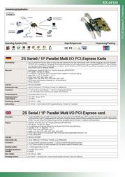 EXSYS PCI-Express 2S/1P Multi I/O card EX-44140 Leaflet