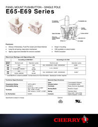 Cherry Switches N/A F68-27A SPDT-CO F68-27A Data Sheet