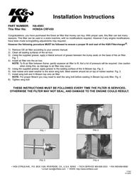 K&N Engineering HA-4503 Leaflet
