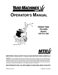 Yard Machines 340 Thru 390 User Manual