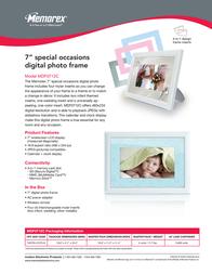 """Memorex 7"""" Special Occasions Digital Photo Frame MDF0712-C Leaflet"""