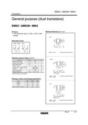 Rohm Semiconductor EMX2T2R Bipolar Transistor Emitter reverse voltage U(CEO) 50 V EMX2T2R Data Sheet