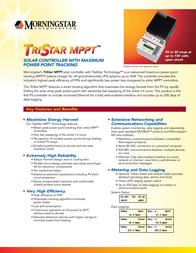 Morningstar Solar charge controller 321036 Data Sheet