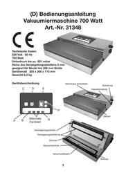 Hgb Heat sealer with air exhaust Vacuumgerät 31348 Data Sheet