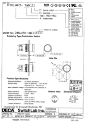 Deca Pushbutton switch 250 Vac 5 A 1 x Off/On IP40 latch 1 pc(s) D16LAR1-1abKW Data Sheet