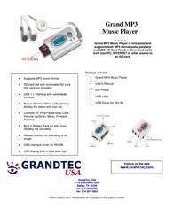 GrandTec Grand MP3 Music Player Leaflet