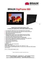 Braun Photo Technik Digiframe 880 21150 Leaflet