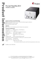 Pro-Ject Head Box SE II 3081020004 Leaflet