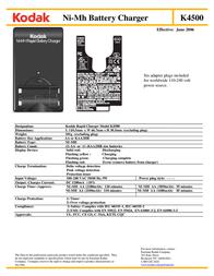 Kodak Ni-MH Rapid Battery Charger Kit K4500-C+1 1053701 Leaflet