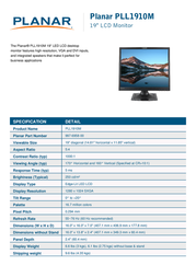Planar Systems PLL1910M 997-6958-00 Leaflet