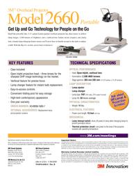 3M Portable Overhead Projector Model 2660 2660 Leaflet