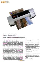 Plustek OptiCard 821 0146TS Leaflet