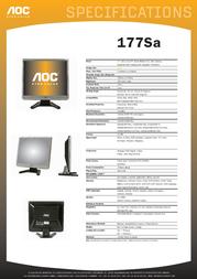 """AOC 17"""" TFT Monitor 177Sa 177SA Leaflet"""