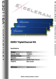 Exceleram 12GB DDR3 PC3-10666 E30116A Leaflet