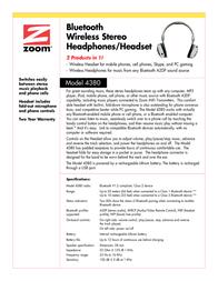 Zoom Bluetooth Wireless Stereo Headphones/Headset 4380-00-68F Leaflet