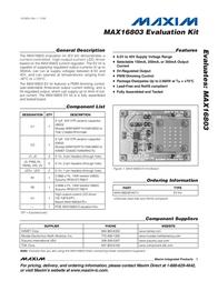 Maxim Integrated MAX16803 Evaluation Kit MAX16803EVKIT+ MAX16803EVKIT+ Data Sheet