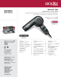 Andis PD-2A 40250 Leaflet