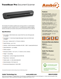Ambir Technology TravelScan Pro PS600-ME Leaflet