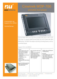 New Universe Mobile DVD player – WDP700 9WDP700A0002 Leaflet