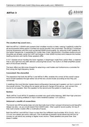 Adam Audio ARTist 3 ARTIST3WIT Leaflet