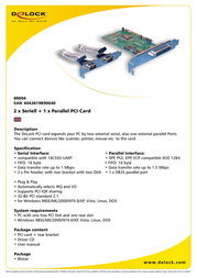 DeLOCK 1x Parallel & 2x Serial - PCI card 89004 Leaflet