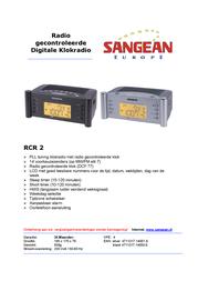 Sangean Clock Radio RCR-2 RCR2ZIL Leaflet