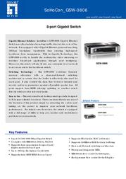 LevelOne 8-port Gigabit Switch GSW-0806 Leaflet