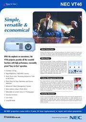 NEC MultiSync VT46 50023208 Leaflet