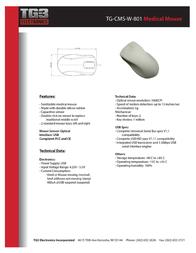 TG3 Electronics TG-CMS-B-801 Leaflet