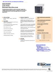 """StorCase DE400 5.25"""" S/P ATA 3HH Frame + (4) PATA LP Carriers, Fan, Black S21J109 Leaflet"""