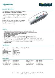 Hypertec 512MB USB 1.1 HyperDrive HYFLUSB01512 Leaflet