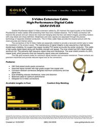 GoldX PlusSeries® S-Video Extension Cable 12ft GXAV-SVE-12 Leaflet