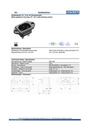 Kaiser IEC connector C14 Plug, vertical mount Total number of pins: 2 + PE 10 A Black 1 pc(s) 781/SW Data Sheet